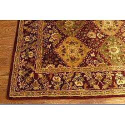 Handmade Tabriz Wine Wool Rug (5' x 8')