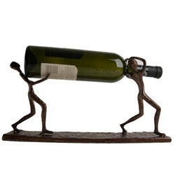 Cast Aluminum 'Two Men Carrying Bottle' Bottle Holder