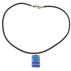 Small Rectangle Blue Bubble Design Glass Pendant (Chile)