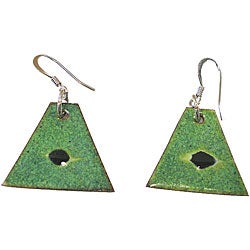 Copper Green and Black Triangular Enamel Earrings (Chile)