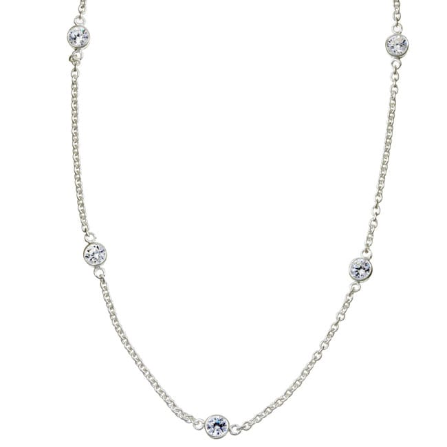 Sterling Essentials Sterling Silver 16-inch Cubic Zirconia Station Necklace