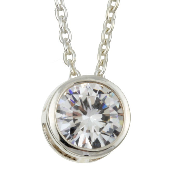 Sterling Essentials Sterling Silver 16-inch Cubic Zirconia Solitaire Necklace