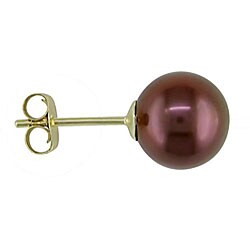 Miadora 14k Gold Brown Freshwater Pearl Earrings (7-7.5 mm)