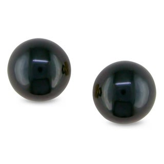 M by Miadora 14k Gold Dark Navy Cultured Freshwater Pearl Earrings (7-7.5 mm)
