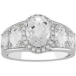 10k Gold White Topaz and 1/10ct TDW Diamond Ring