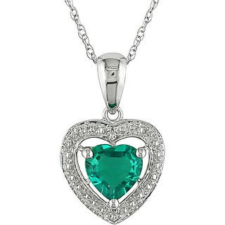 Miadora 10k Gold Created Emerald and Diamond Heart Necklace