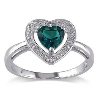 Miadora 10k Gold Created Emerald and Diamond Heart Ring