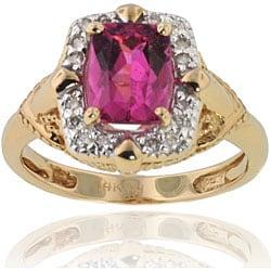 Michael Valitutti 14k Gold Rubellite/ 1/10ct TDW Diamond Ring