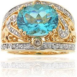 Michael Valitutti 14k Gold Paraiba Apatite/ 1/4ct TDW Diamond Ring (I, SI)