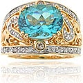 Michael Valitutti 14k Gold Paraiba Apatite/ 1/4ct TDW Diamond Ring (I, SI)
