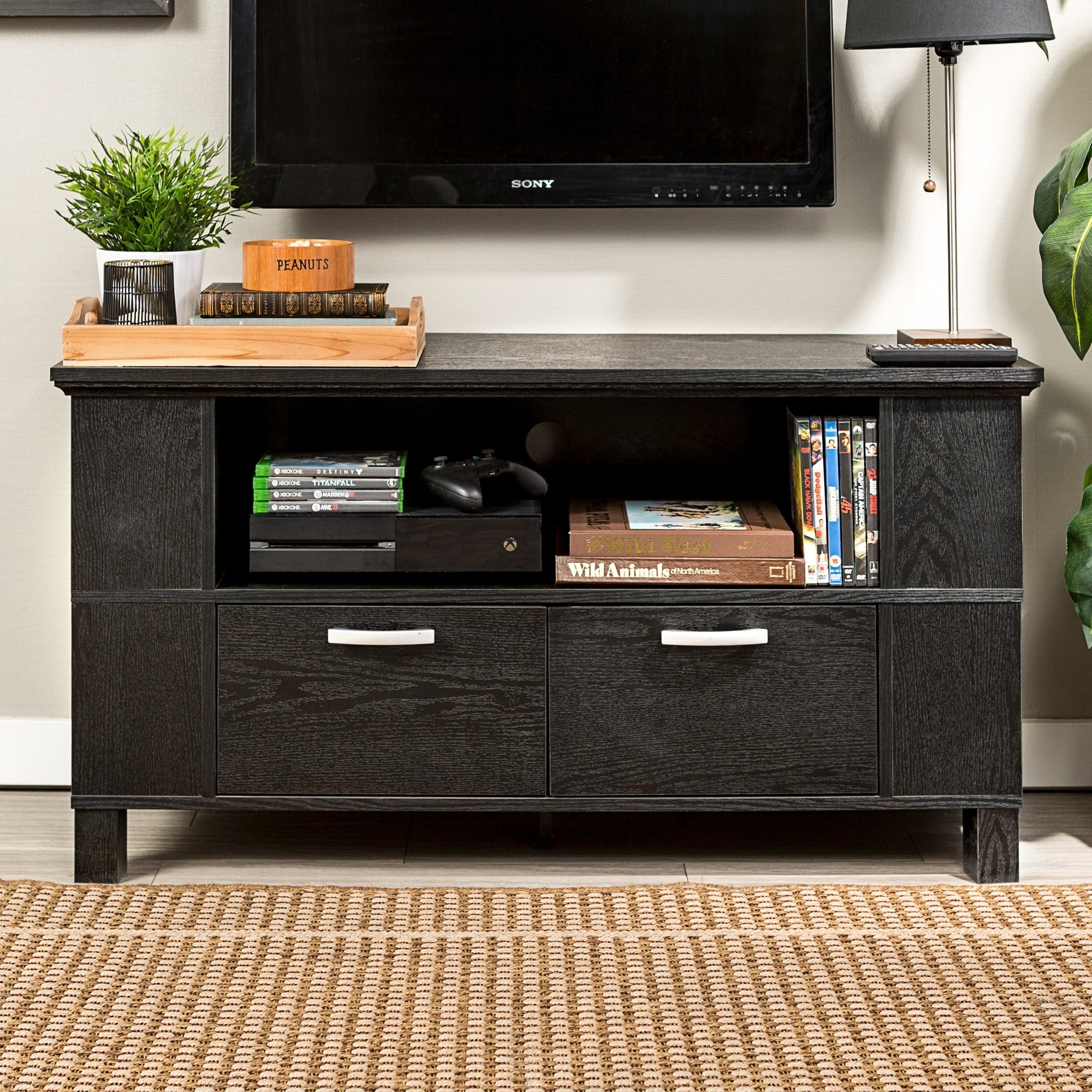 Contemporary Black Wood 44-Inch TV Stand at Sears.com