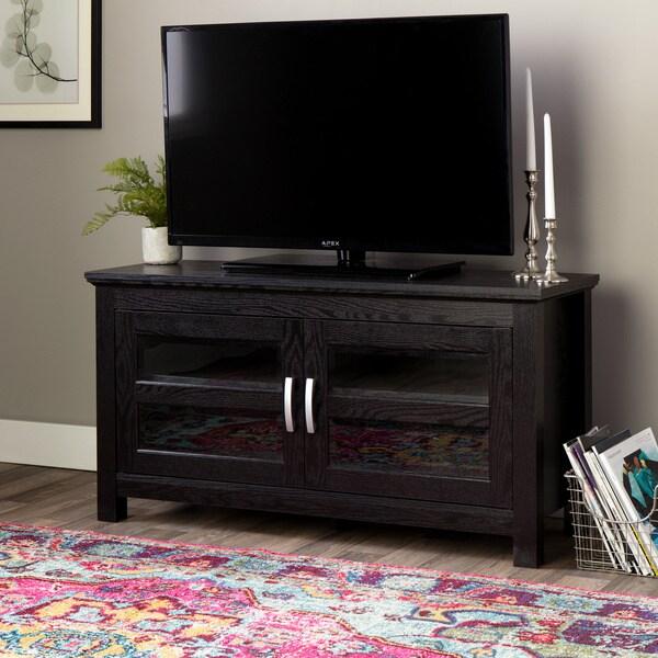 44 in black wood tv stand 12020154 for Furniture of america danbury modern