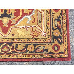 Indo Hand-tufted Heriz Red/ Black Rug (3'3 x 5'3)