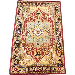 Herat Oriental Indo Hand-tufted Heriz Red/ Black Wool Rug (3'3 x 5'3)