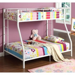 White Metal Twin Double/Full Bunk Bed