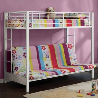 White Metal Twin Futon Bunk Bed