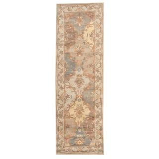 Herat Oriental Indo Hand-tufted Tabriz Beige Wool Runner (2'6 x 8')