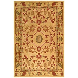 Handmade Craftworks Beige New Zealand Wool Rug (6' x 9')