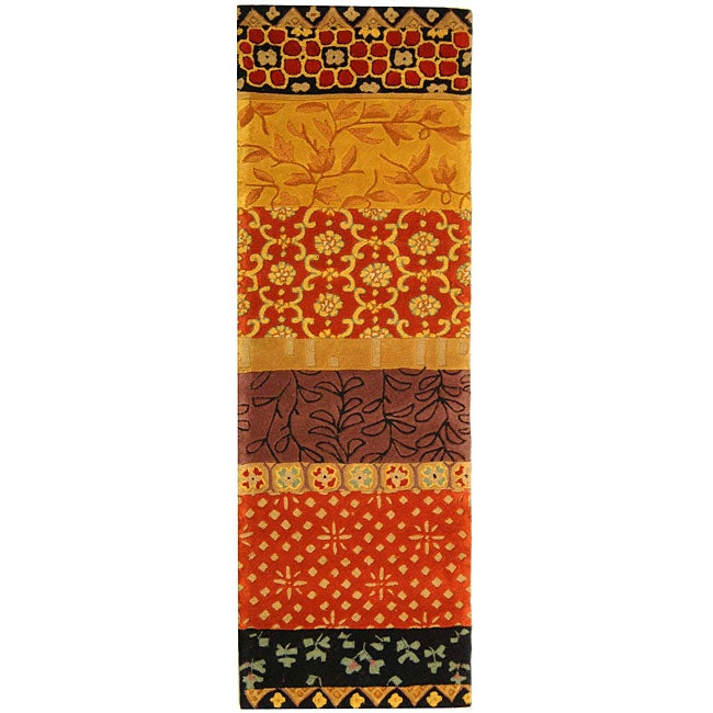 Safavieh Handmade Rodeo Drive Collage Rust/ Gold N.Z. Wool Runner (2'6 x 10')