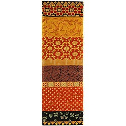 Handmade Rodeo Drive Collage Rust/ Gold N.Z. Wool Runner (2'6 x 14')