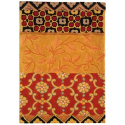 "Handmade Rodeo Drive Collage Rust/ Gold N.Z. Wool Rug (2' 6"" x 4' 6"")"