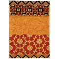 Handmade Rodeo Drive Collage Rust/ Gold N.Z. Wool Rug (2' 6
