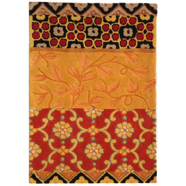 "Safavieh Handmade Rodeo Drive Collage Rust/ Gold N.Z. Wool Rug (2' 6"" x 4' 6"")"