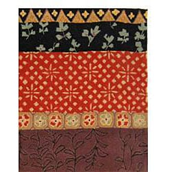 Handmade Rodeo Drive Collage Rust/ Gold N.Z. Wool Rug (5' x 8')