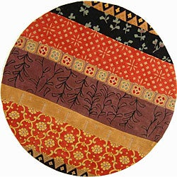 Safavieh Handmade Rodeo Drive Collage Rust/ Gold N.Z. Wool Rug (5'9 Round)