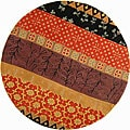 Handmade Rodeo Drive Collage Rust/ Gold N.Z. Wool Rug (5'9 Round)
