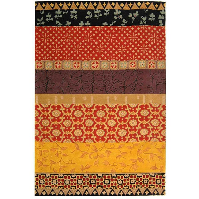 "Safavieh Handmade Rodeo Drive Collage Rust/ Gold N.Z. Wool Rug (7' 6"" x 9' 6"")"