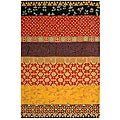 Handmade Rodeo Drive Collage Rust/ Gold N.Z. Wool Rug (7' 6
