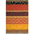 "Handmade Rodeo Drive Collage Rust/ Gold N.Z. Wool Rug (7' 6"" x 9' 6"")"