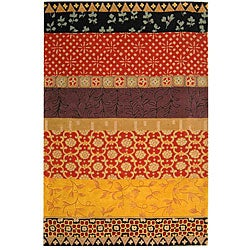 Handmade Rodeo Drive Collage Rust/ Gold N.Z. Wool Rug (8' x 11')