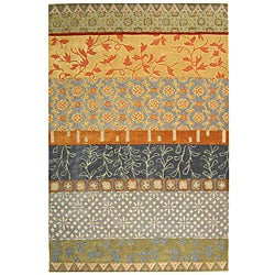 Handmade Rodeo Drive Collage Multicolor N.Z. Wool Rug (6' x 9')