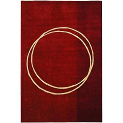 Safavieh Handmade Rodeo Drive Circle of Life Red/ Ivory N.Z. Wool Rug (9'6 x 13'6)
