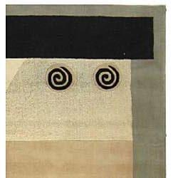 Handmade Soho Ivory/ Gray N. Z. Wool Rug (7' 6