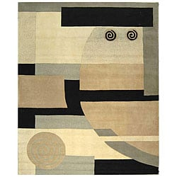 "Safavieh Handmade Rodeo Drive Modern Abstract Ivory/ Grey Wool Rug (7' 6"" x 9' 6"")"