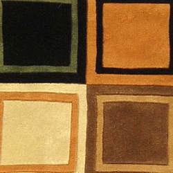 Safavieh Handmade Deco Squares Multi/ Black N. Z. Wool Runner (2'6 x 12')