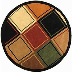 Safavieh Handmade Deco Squares Multi/ Black N. Z. Wool Rug (5'9 Round)