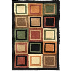 "Safavieh Handmade Deco Squares Multi/ Black N. Z. Wool Rug (7' 6"" x 9' 6"")"