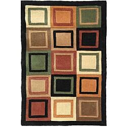 Safavieh Handmade Deco Squares Multi/ Black N. Z. Wool Rug (8' x 11')
