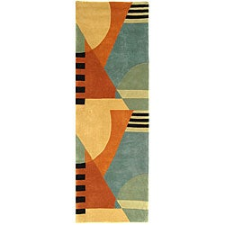 Handmade Rodeo Dr. Krave Blue/ Rust N.Z. Wool Runner (2'6 x 14')