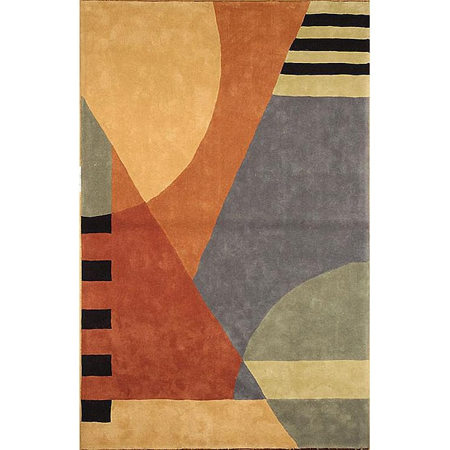 Safavieh Handmade Rodeo Drive Modern Abstract Blue/ Rust Wool Rug (7' 6 x 9' 6)