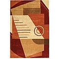 Handmade Rodeo Drive Village Rust/ Multi N.Z. Wool Rug (5' x 8')