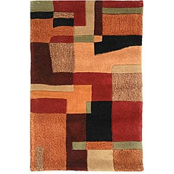 Safavieh Handmade Rodeo Drive Modern Deco Rust/ Multi N.Z. Wool Rug (9'6 x 13'6)