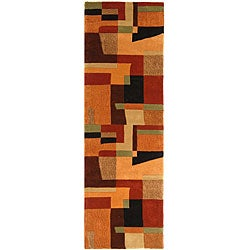 Safavieh Handmade Rodeo Drive Modern Deco Rust/ Multi N.Z. Wool Runner (2'6 x 8')