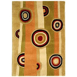 Handmade Rodeo Drive Zac Sage/ Red New Zealand Wool Rug (2' x 3')