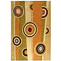 Handmade Rodeo Drive Zac Sage/ Red New Zealand Wool Rug (5' x 8')