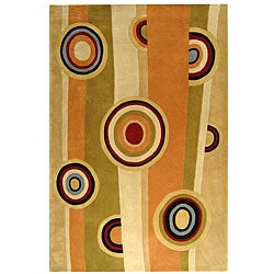 Handmade Rodeo Drive Zac Sage/ Red N.Z. Wool Rug (7' 6